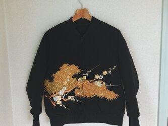 着物リメイクジャンパー(笹に梅)の画像