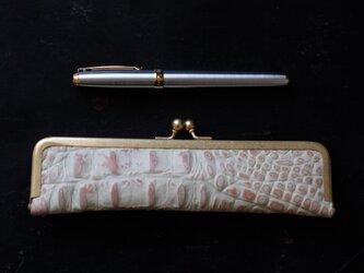 大人のステーショナリー・クロコ型押しペンケース/18cm/ギフトにもの画像