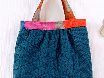 藍染 二重刺子と手織りベルトの バッグの画像
