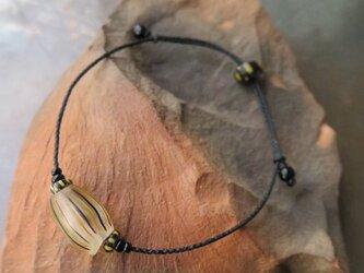 アンティーク メロン玉 黒&黄 + ブラックシェブロン ブレスレット 百世 momotose(西)の画像