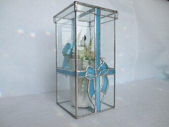 プリザーブドフラワー&ステンドグラス リボン ケース・フィギュア・ディスプレー・コレクション・ギフト・ボックスの画像