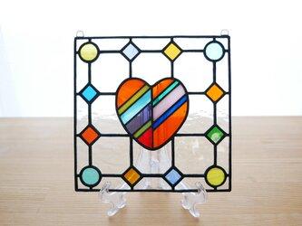 ステンドグラス ミニパネル ドットハート 15cmの画像