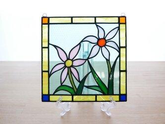 ステンドグラス ミニパネル 野花(白・ピンク) 15cmの画像