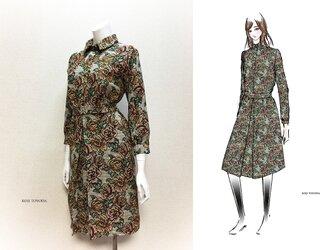 【1点もの・デザイン画付き】ゴブラン織りベルト付きボックスプリーツシャツ型ワンピース(KOJI TOYODA)の画像