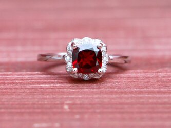 天然石*ガーネット 指輪*18.5号 SVの画像