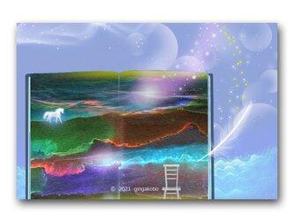 """「""""時間""""の奥に潜む、""""時""""の聲」白馬 星 ほっこり癒しのイラストポストカード2枚組 No.1336の画像"""