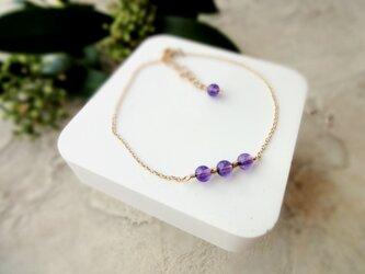Fortune Ring Bracelet ■14kgf 天然石・誕生石■ アメジスト 濃い色 2月の画像
