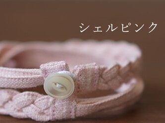【wafu】三編み ブレスレット 男女兼用 リネン100% アクセサリー/シェルピンク z025a-spk2の画像