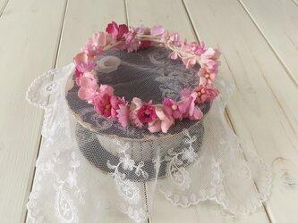 ドール用染め花の花冠(L・ピンク)の画像