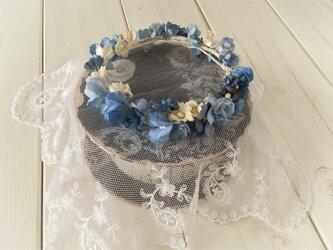 ドール用染め花の花冠(L・ブルー)の画像