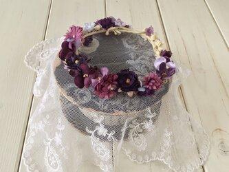 ドール用染め花の花冠(L・ムラサキ)の画像