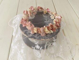ドール用染め花の花冠(L・マロンピンク)の画像