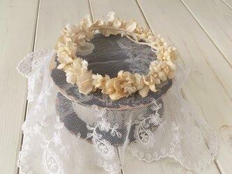 ドール用染め花の花冠(L・アンティークホワイト)の画像