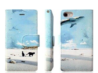 ★手帳型ケース(ベルト付き)★おさんぽネコinバカンス iPhone12Pro〜選択可能 iPhoneケースの画像