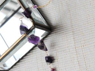 ラフロックフローライトの5石のブレスレット紫14kgfの画像