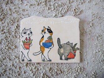 タイルの動物図鑑  ガーデニング ネコの画像
