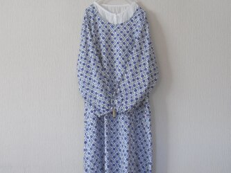 木綿のかっぽう着 青の画像