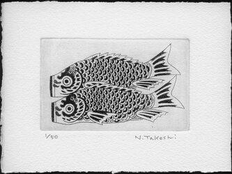 鯉のぼり・2021/銅版画 (作品のみ)の画像