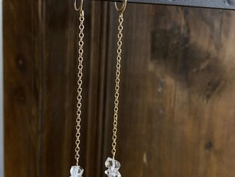ハーキマーダイヤモンドの2粒ロングノンホールピアス 14kgfの画像