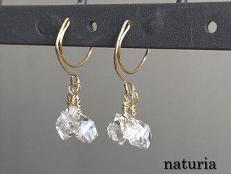 ハーキマーダイヤモンドのシャンデリア*ノンホールピアス 14kgfの画像
