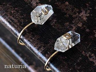 ハーキマーダイヤモンドの1粒ノンホールピアス 14kgfの画像