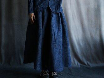 リネンデニムスカートパンツの画像