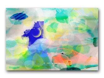 「五十知命の音亡き問い」三日月 木の葉 ほっこり癒しのイラストポストカード2枚組 No.1338の画像