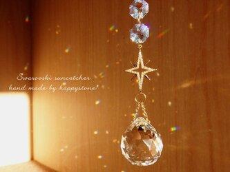 星降る夜に*星とスワロフスキーのサンキャッチャー/ゴールドの画像