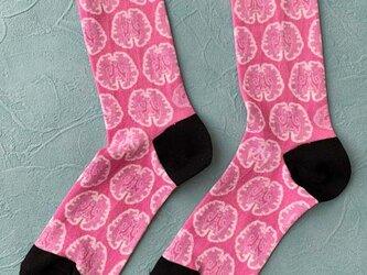 『脳柄』ソックス メンズFサイズですが男女兼用24〜26cm用(ピンク)の画像