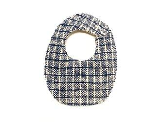 両面手織りベビースタイ(オーガニックコットン100%)リバーシブル:ネイビー格子&ベージュの画像