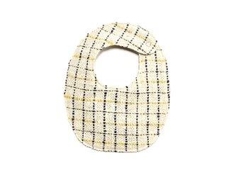 両面手織りベビースタイ(オーガニックコットン100%)リバーシブル:ネイビー、イエロー、カーキの格子&ネイビーの画像