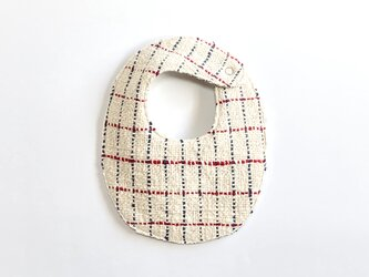 両面手織りベビースタイ(オーガニックコットン100%)リバーシブル:ネイビーとレッドの格子&チャコールグレーの画像
