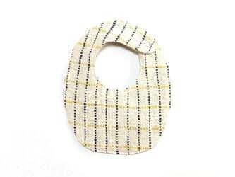 両面手織りベビースタイ(オーガニックコットン100%)リバーシブル:ネイビーとイエローの格子&カーキの画像