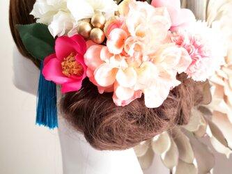 甘花 サーモンピンクダリアの髪飾り9点Set No799の画像