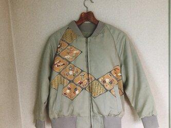着物リメイクジャンパー(菱型に草花)の画像