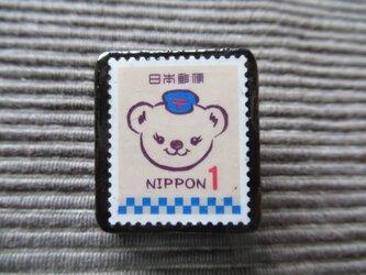 日本 ぽすくま切手ブローチ 7338の画像