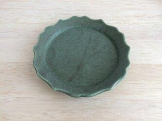 稜花リム平皿(グリーン)の画像