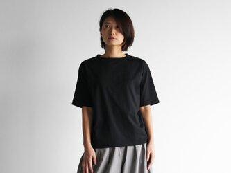 [HUIS in house]SUVIN COTTON5分袖カットソー(kuro)【ユニセックス】CS101の画像