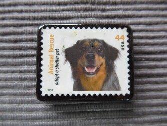 アメリカ 犬切手ブローチ7340の画像