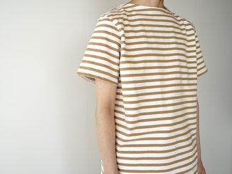 pablo cotton/center back tshirt /beige  border/size1・2の画像
