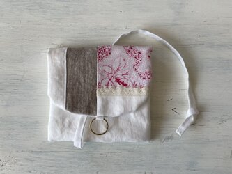 french fabric -flap pouchの画像