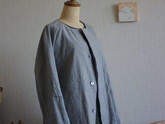 グレー色コート①綿麻ギャバのショート丈73の画像
