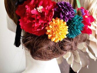 真っ赤なピオニーと椿の髪飾り8点Set No800の画像