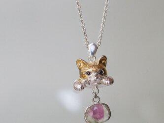 バイカラートルマリン猫ペンダントb ラテュの画像