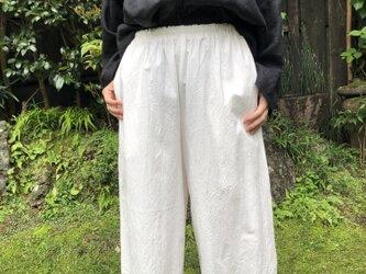 綿ウォッシャーワイドパンツ 白の画像