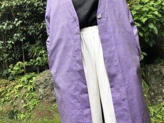 薄紫の紬着物生地リメイクコートの画像