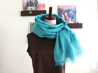 リネン×コットン 手織りストール  (ターコイズブルーxエメラルドグリーン)の画像