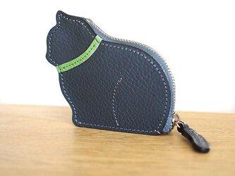 お座り子猫のコインケース・グレー×ライムの画像