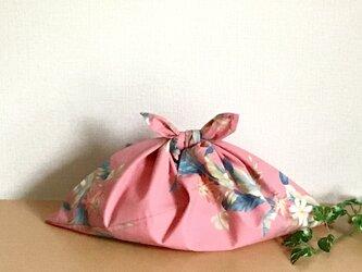 あずま袋 大柄ボタニカル 濃いピンク色の画像