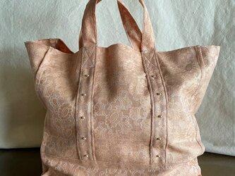 vintage damask cloth  bag (pink)の画像